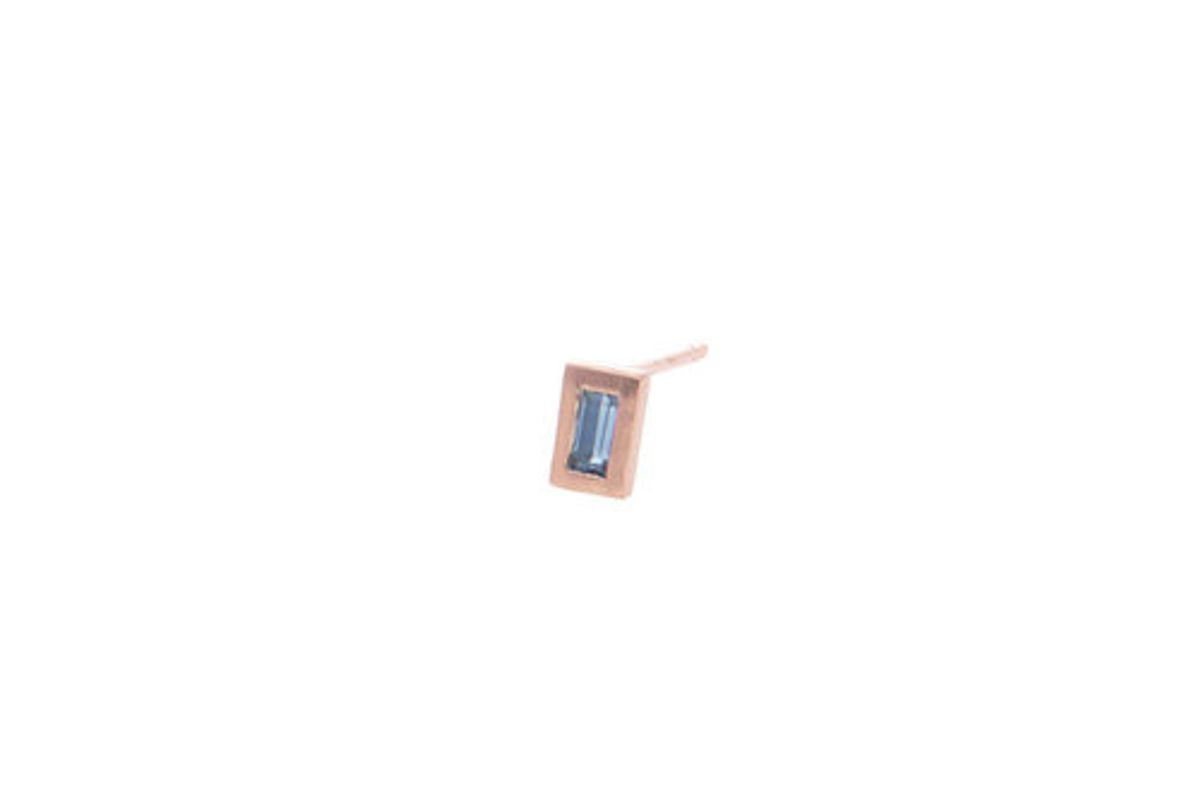 Rectangle Earring with Sapphire Baguette, 10K Rose Gold