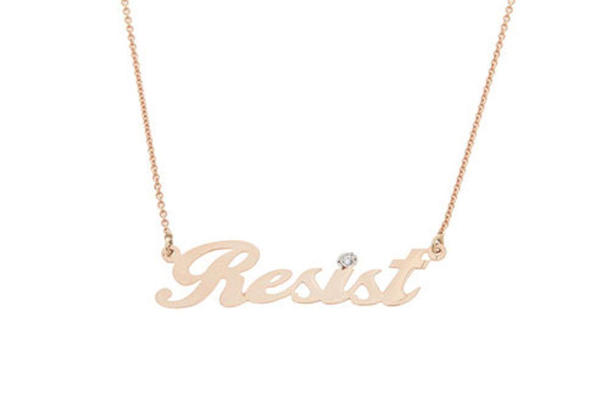 """""""Resist"""" Nameplate Necklace, 14K Rose Gold"""