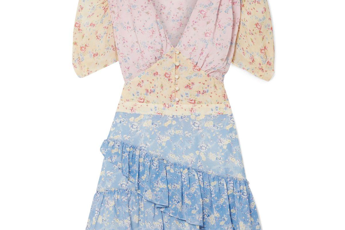 loveshackfancy bea ruffled floral print silk georgette mini dress