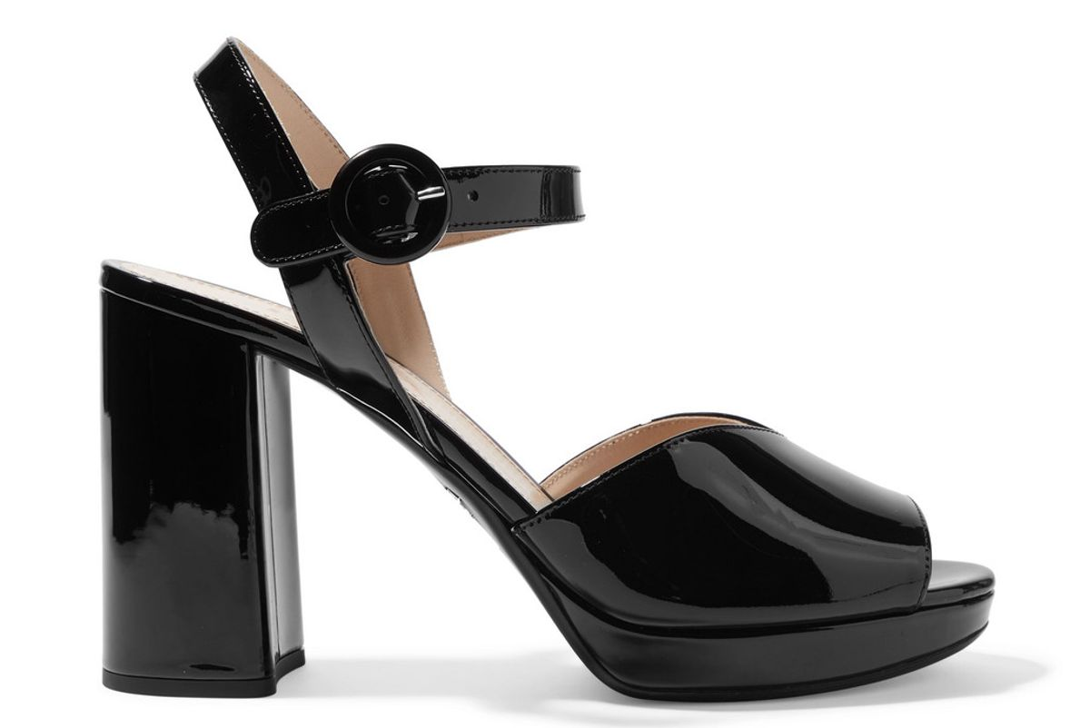 prada 95 patent leather platform sandals