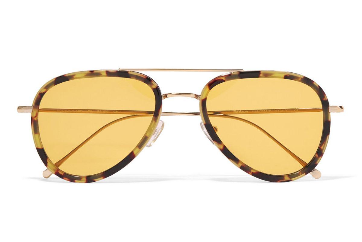 illesteva wooster aviator style tortiseshell acetate and gold tone sunglasses