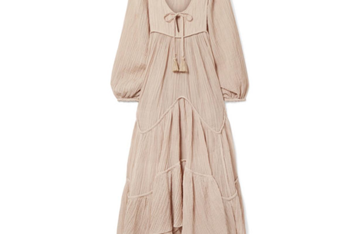zimmermann bayou crinkled ramie and cotton blend midi dress