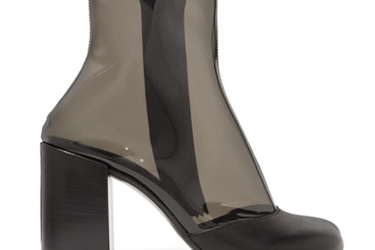 maison margiela leather trimmed pvc ankle boots