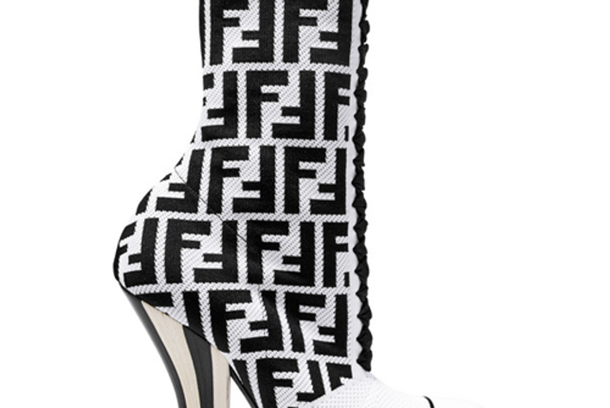 fendi logo jacquard stretch knit and mesh sock boots