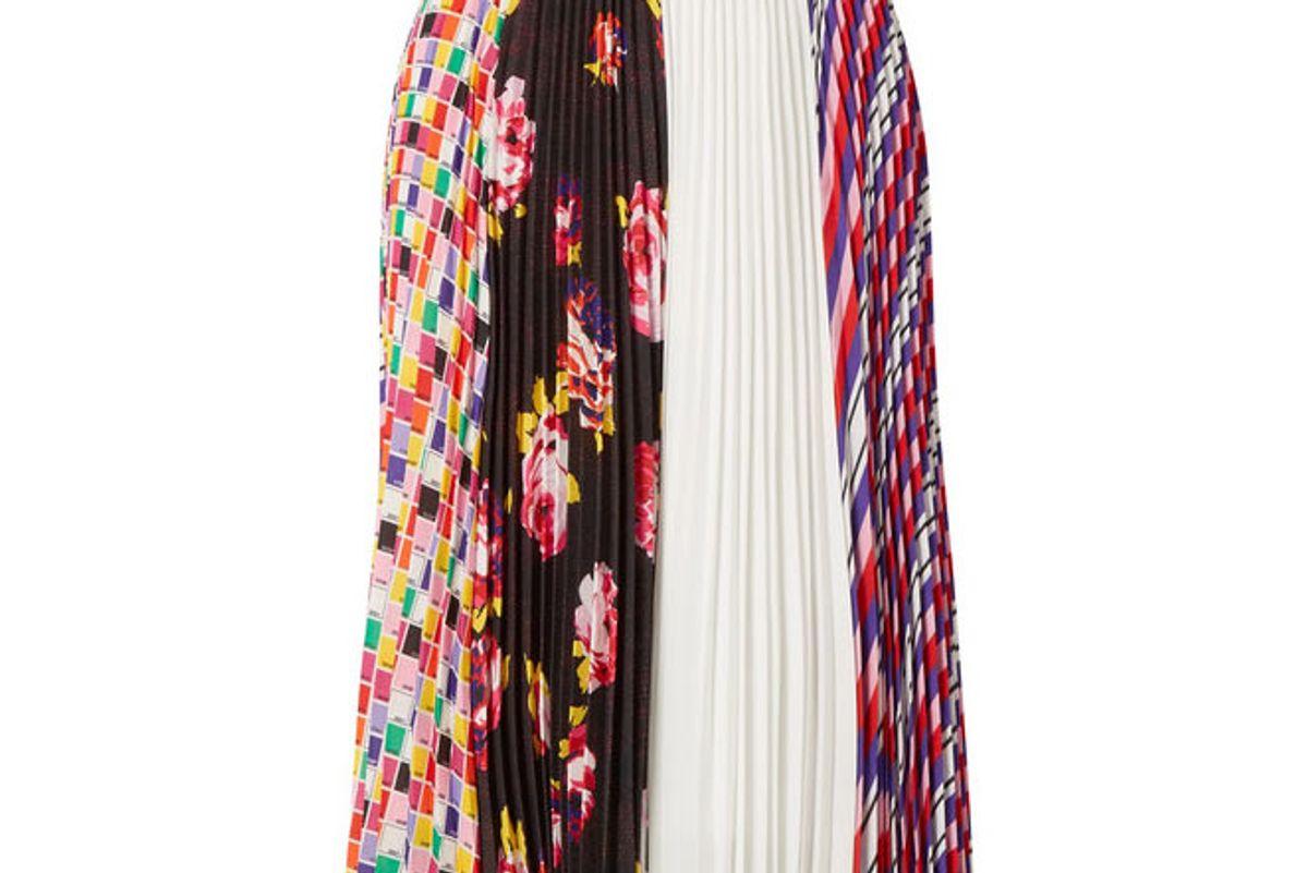 msgm printed plisse-crepe skirt