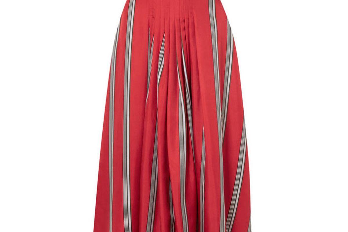 roksanda thaki pleated striped silk-twill midi skirt