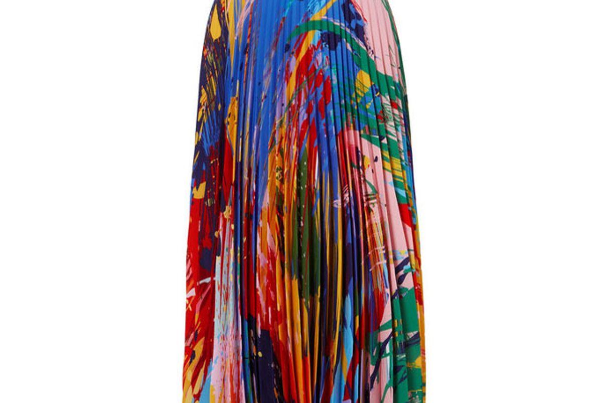 mary katrantzou printed plisse-chiffon midi skirt