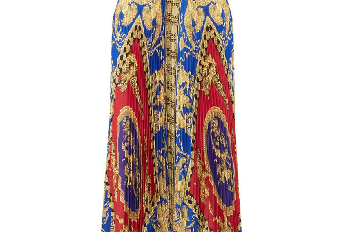 versace pleated printed satin midi skirt