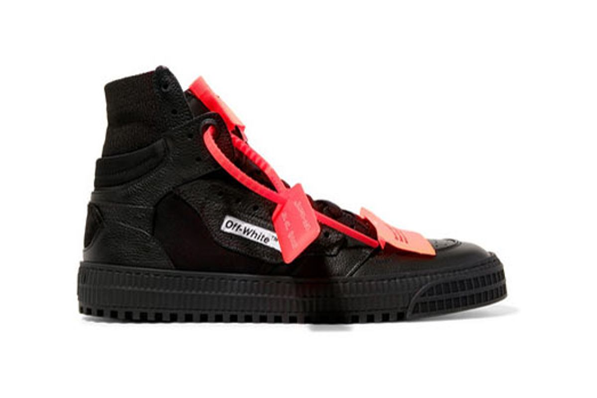 off-white appliqued logo-embellished textured-leather and mesh sneakers