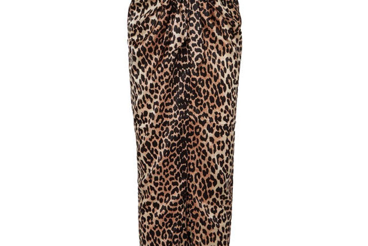 ganni calla wrap-effect leopard-print stretch-silk shirt