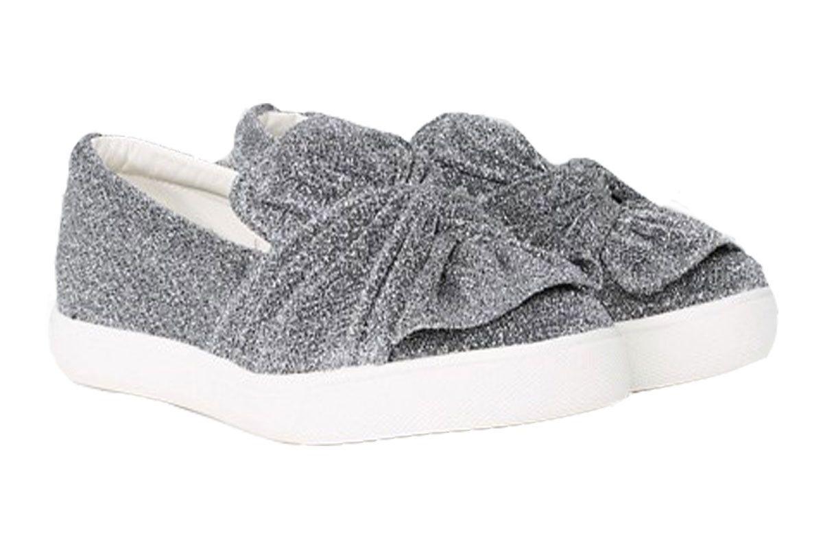 New Look Wide Fit Shimmer Jersey Knot Slip On Sneaker