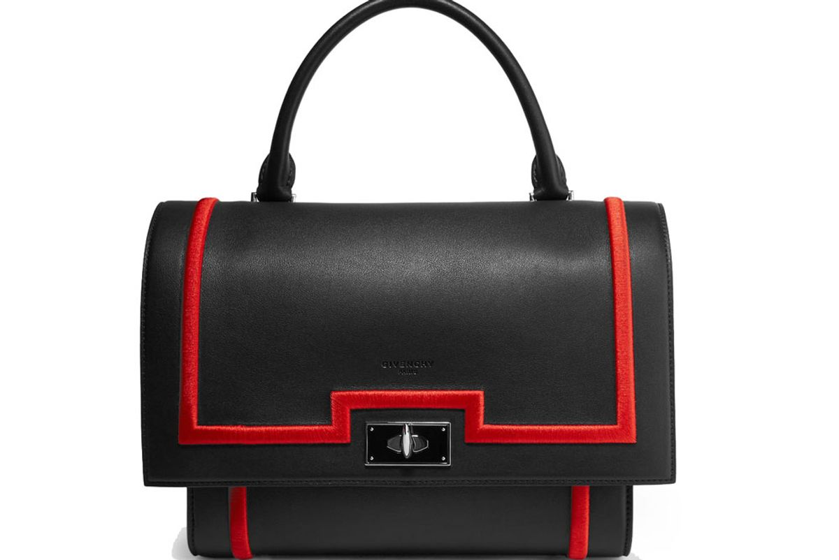 Small Shark Bag in Black Textured-Leather