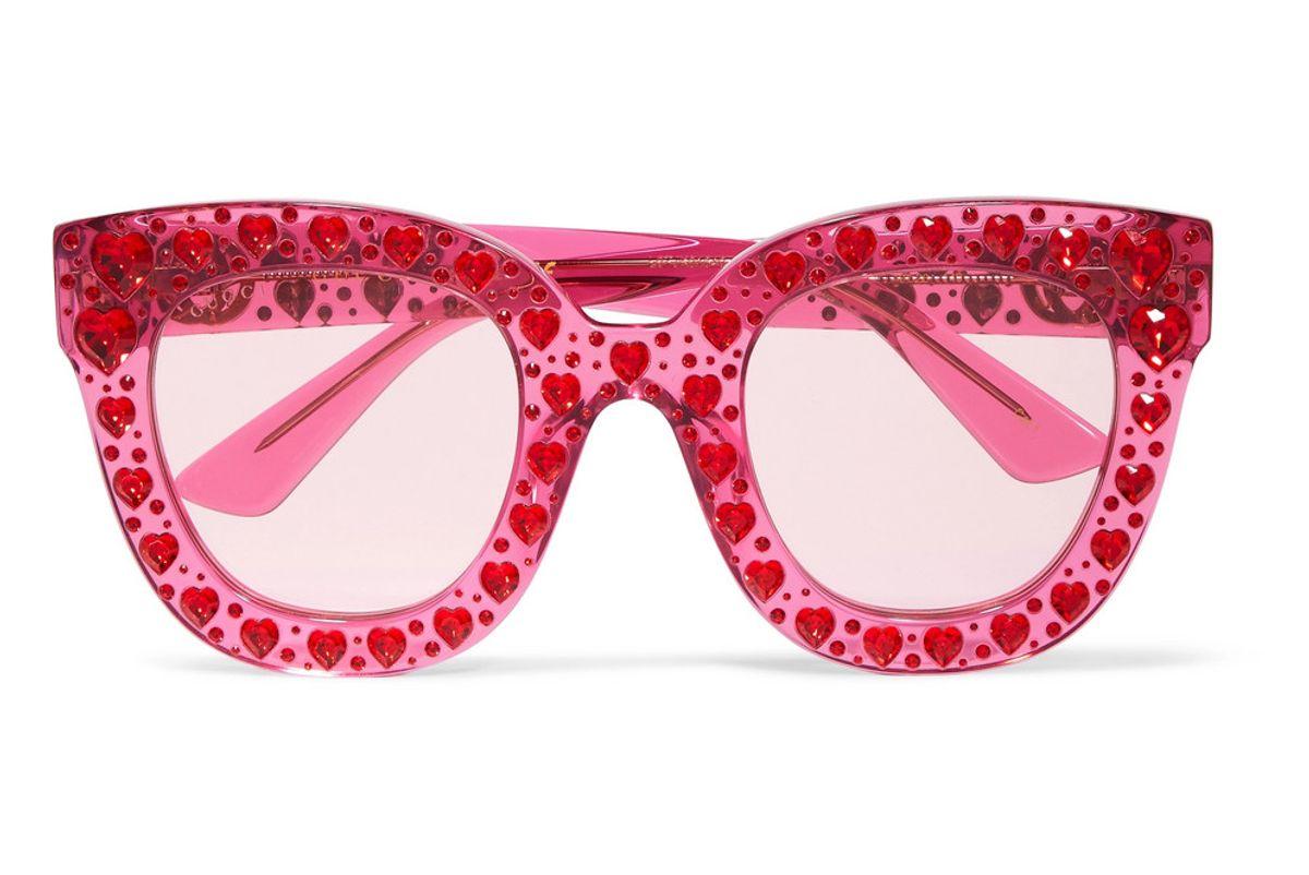 gucci crystal embellished square frame acetate sunglasses