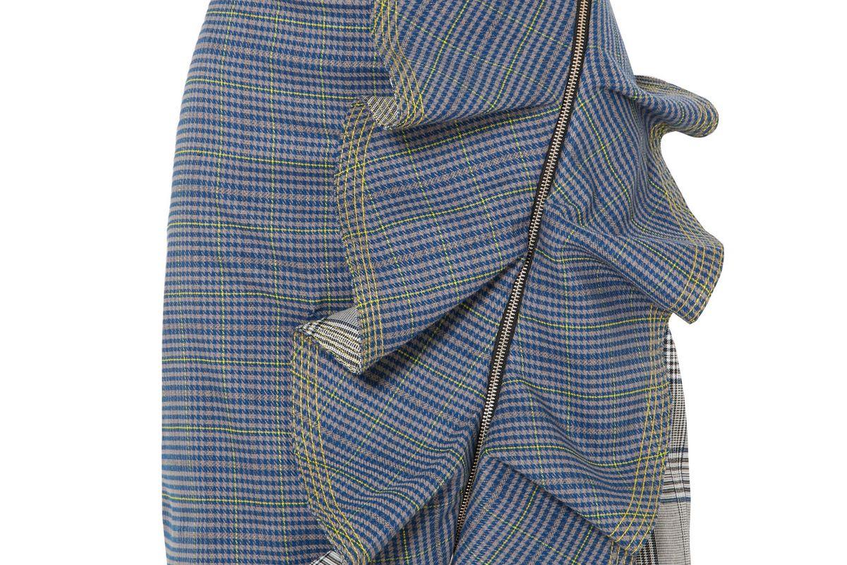 self portrait ruffled checked tweed mini skirt