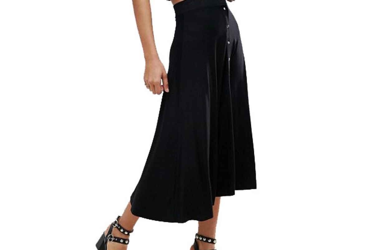 Tall Midi Skater Skirt with Poppers