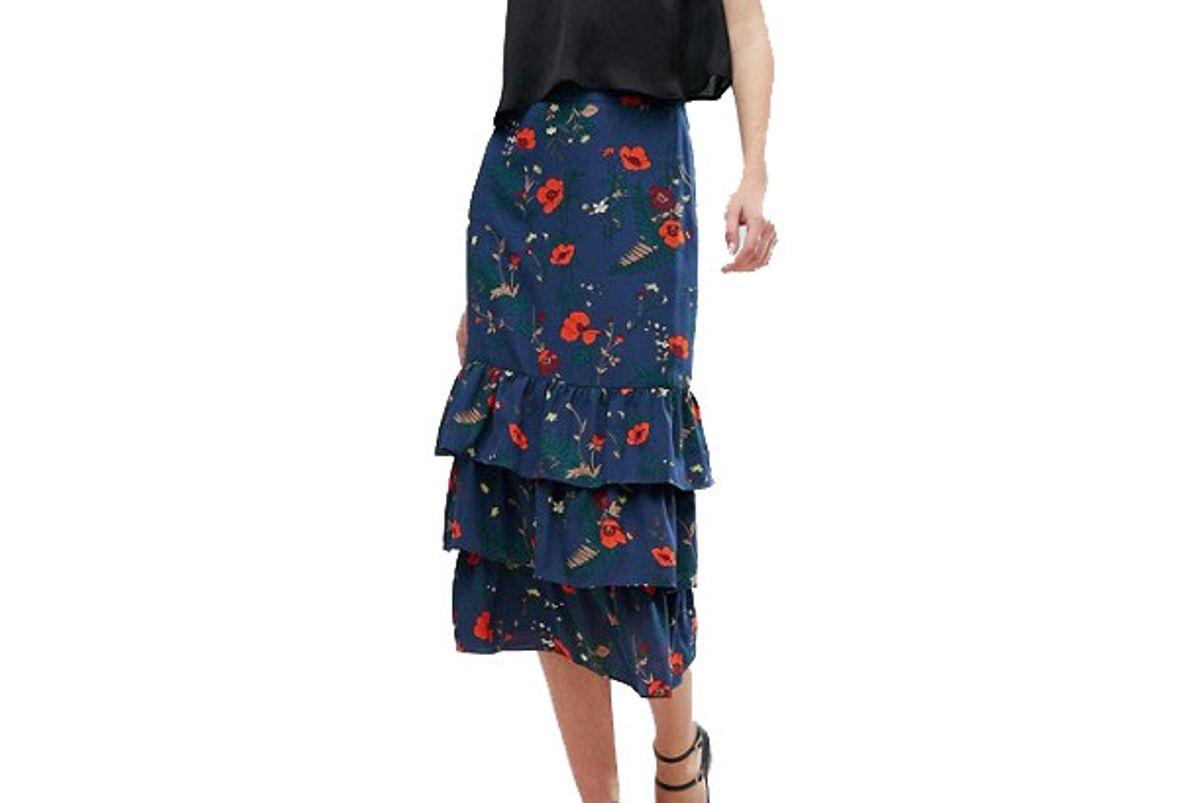 Fashion Union Tall Ruffle Midi Skirt In Floral Print