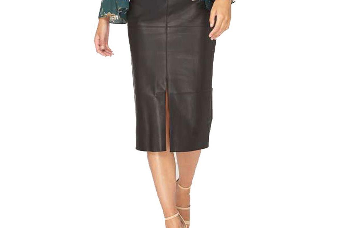 Tall Black PU Midi Skirt