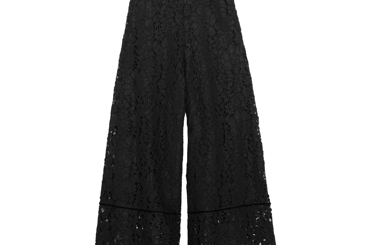 Velvet-Trimmed Corded Lace Culottes