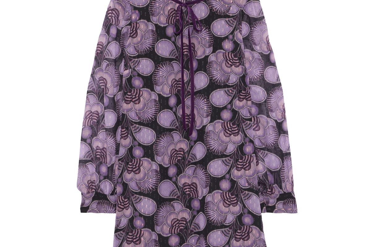 anna sui velvet trimmed printed fil coupe chiffon mini dress