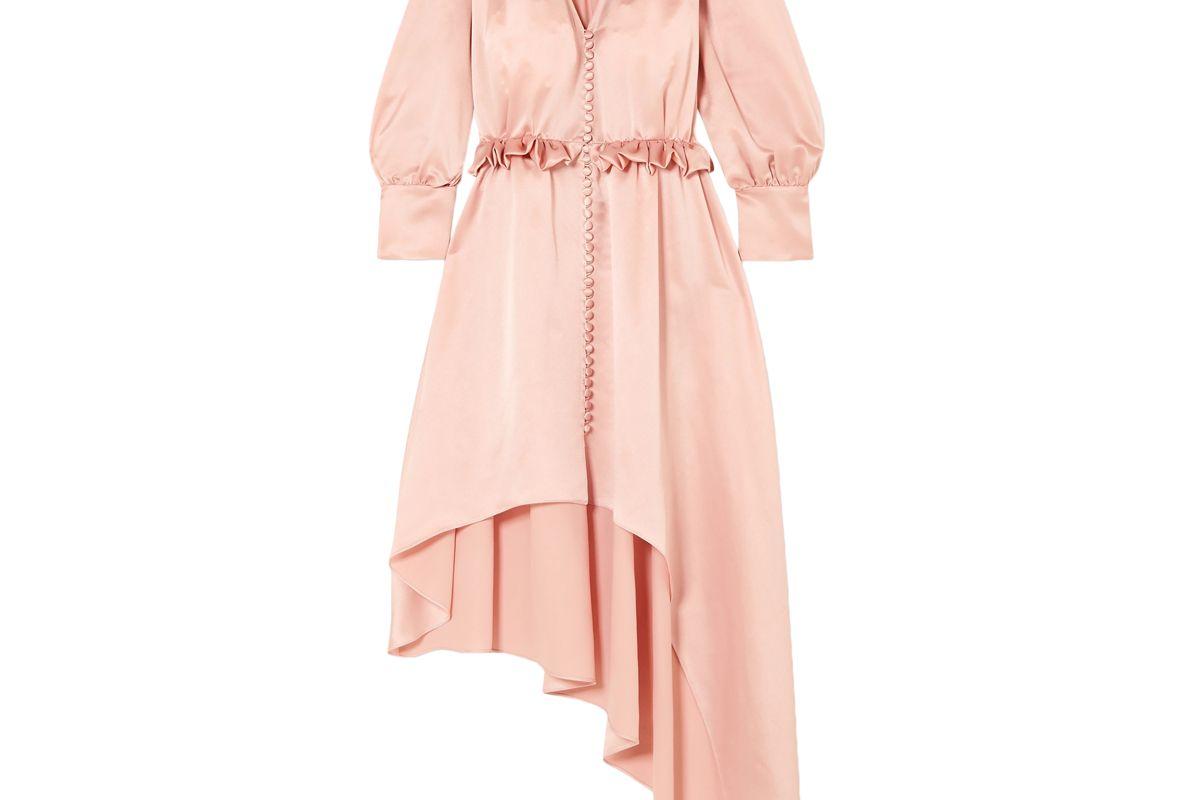 magda butrym tarragona asymmetric ruffled silk satin dress