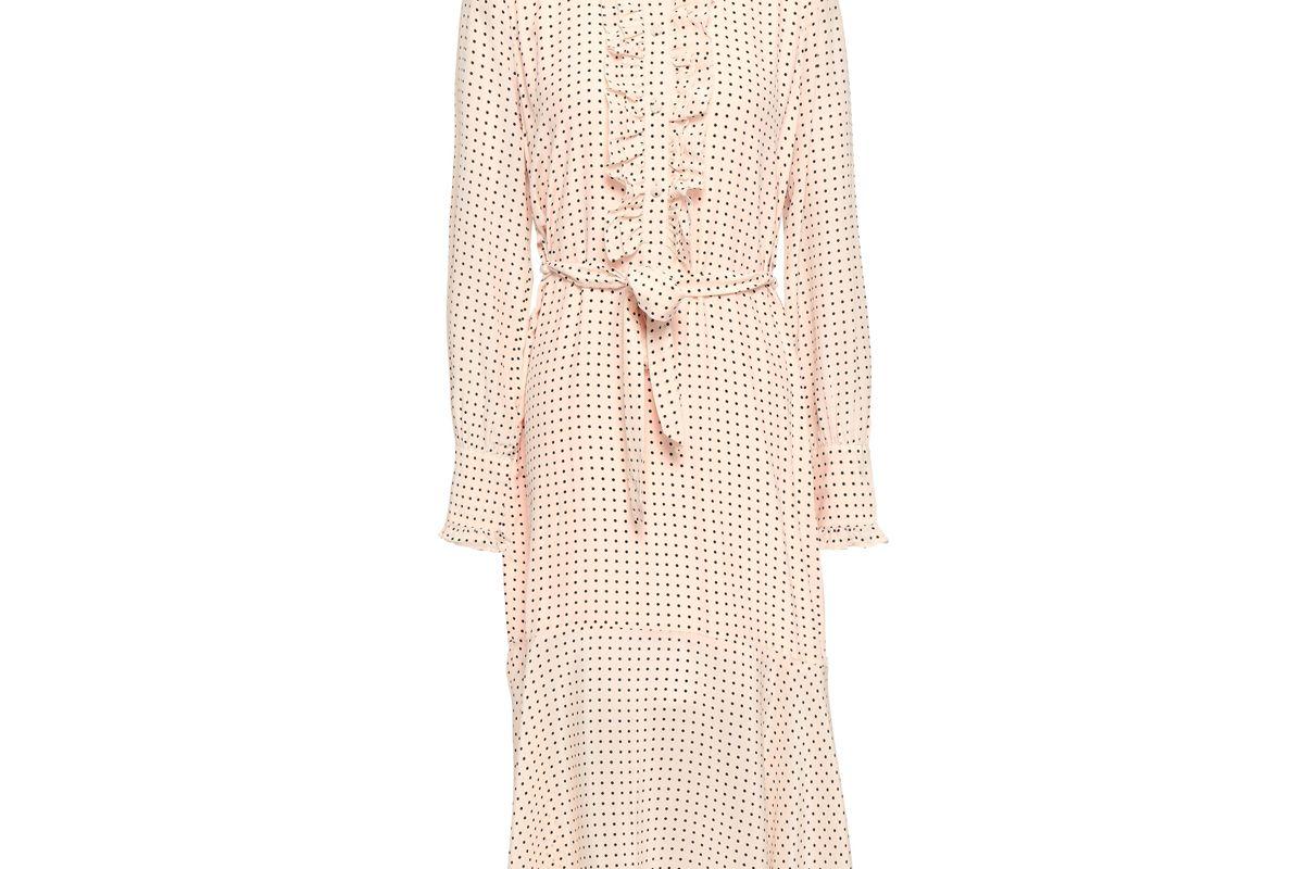 equipment palo ruffle trimmed polka dot silk crepe de chine midi dress