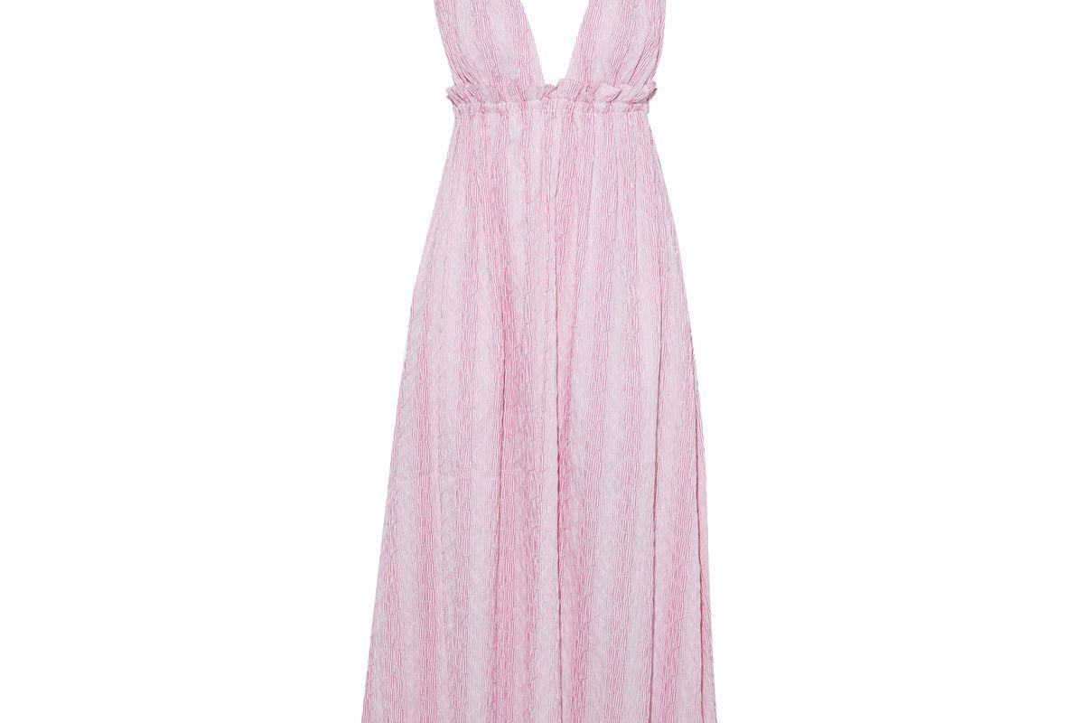 la ligne betty bow embellished striped cotton blend midi dress