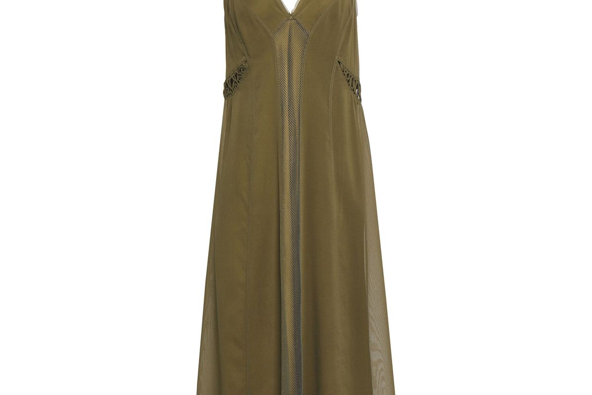 rag and bone louise stretch silk chiffon and mesh midi slip dress