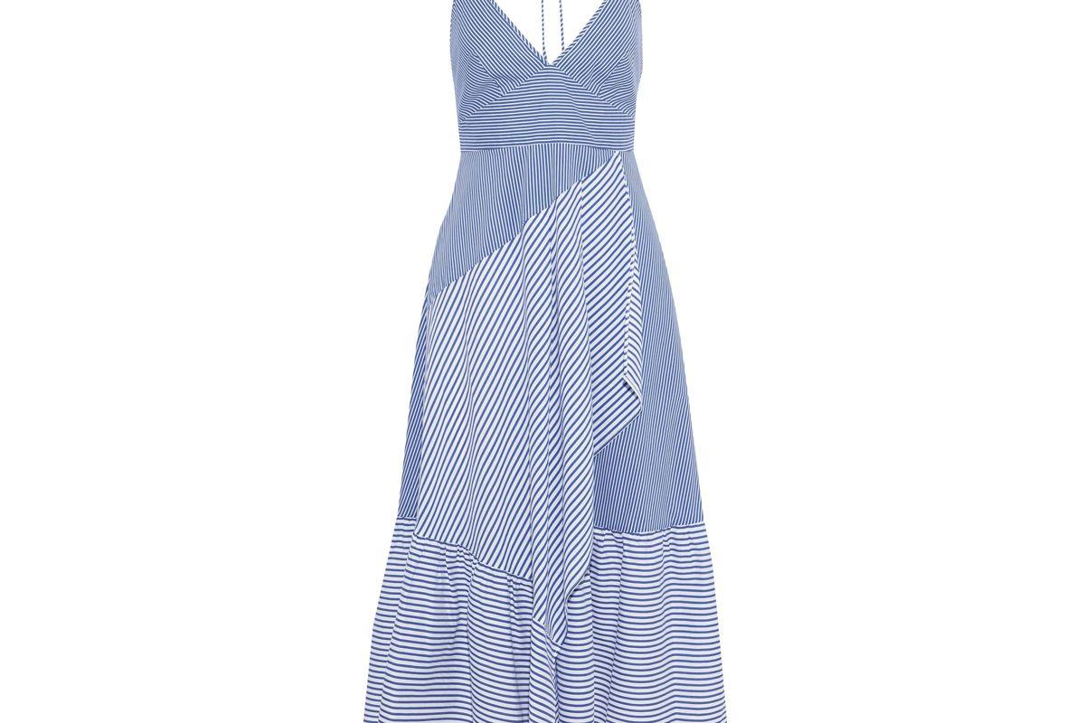 tibi collage striped cotton blend poplin halterneck midi dress