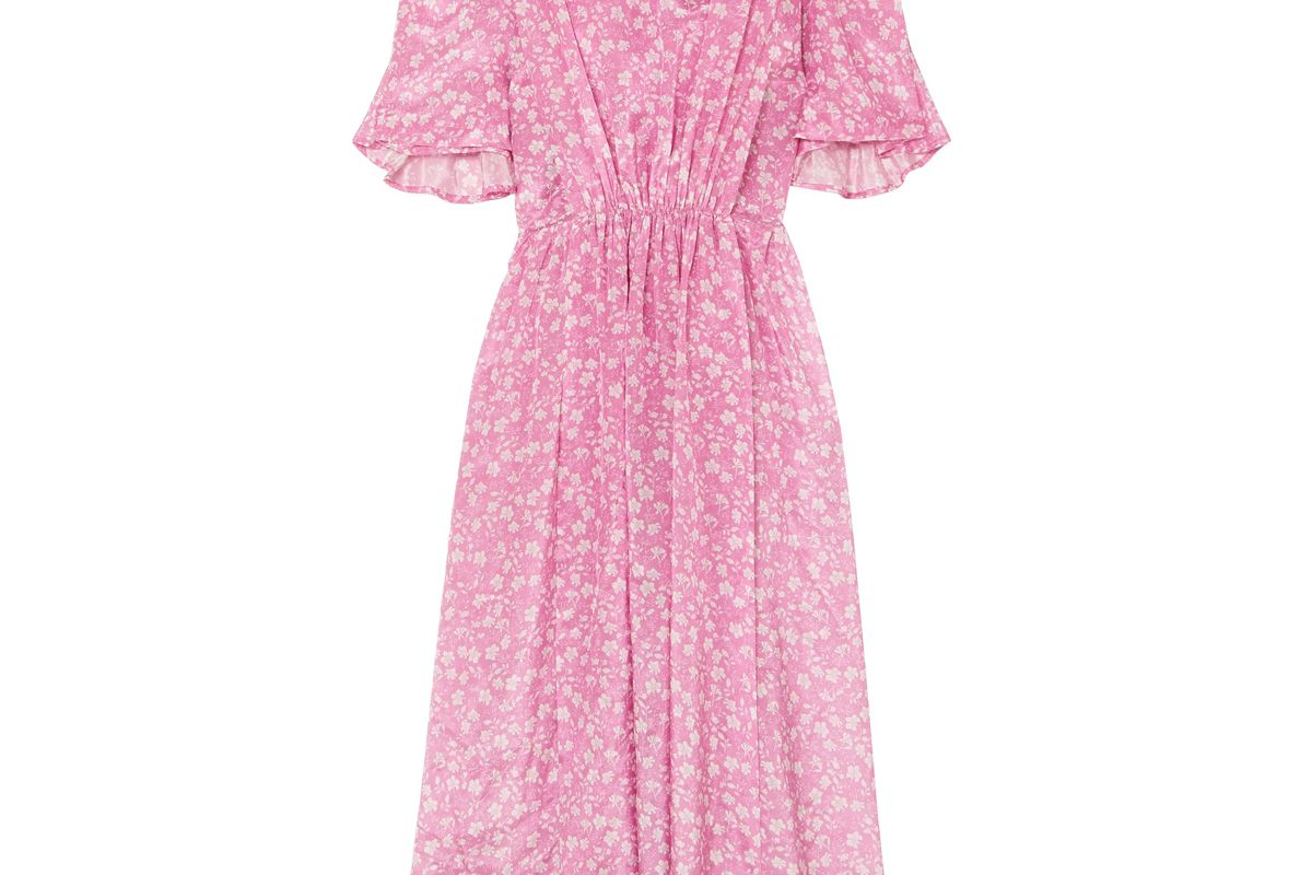 pushbutton gathered floral print gazar midi dress