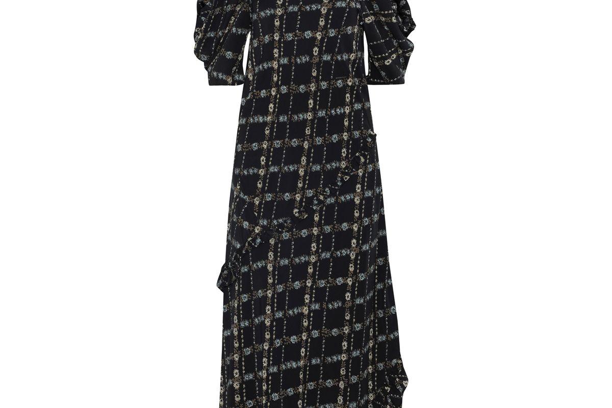 burberry cold shoulder floral print silk crepe de chine midi dress