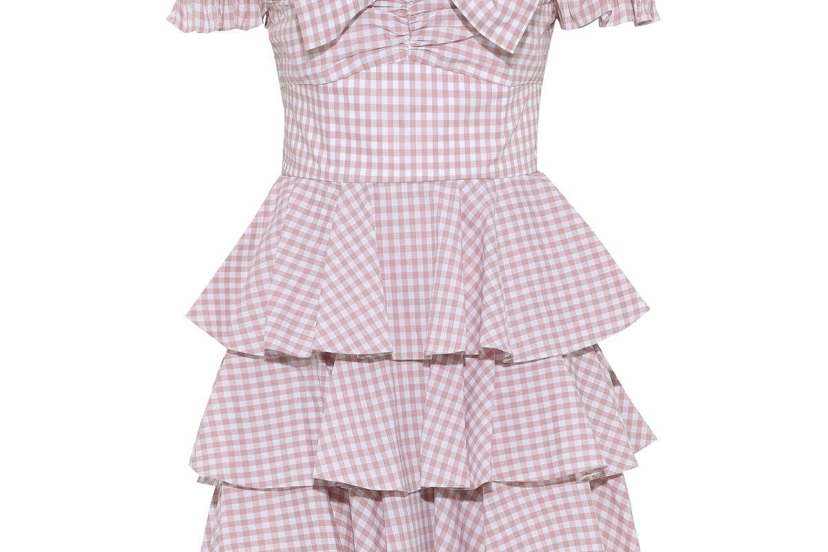 caroline constas helena off the shoulder tiered gingham cotton poplin mini dress