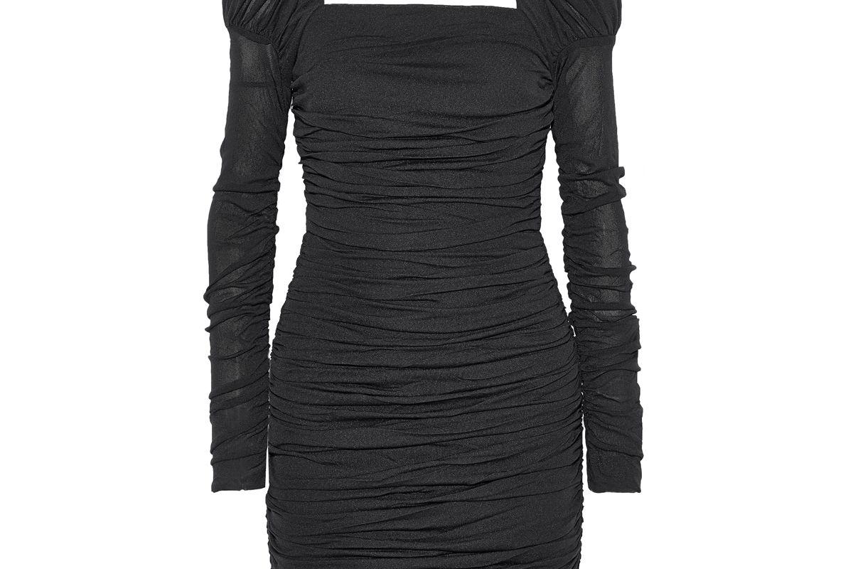 rebecca vallance frenchie ruched stretch mesh mini dress