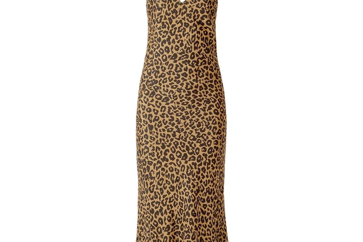 michelle mason draped leopard print silk chiffon midi slip dress