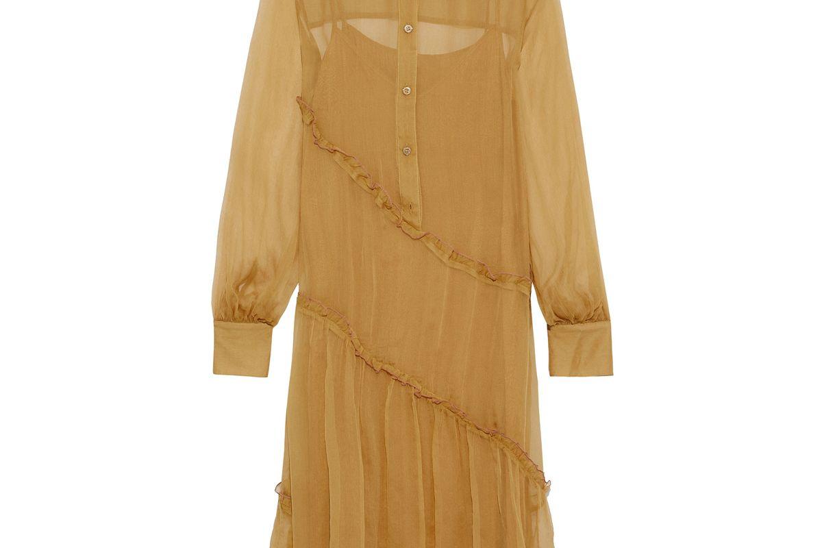 see by chole ruffled silk georgette shirt dress