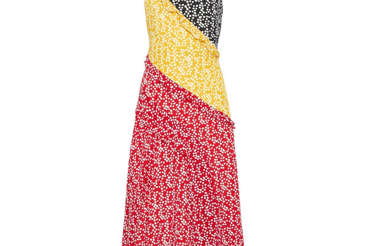 saloni agnes ruffle trimmed printed silk crepe de chine midi dress