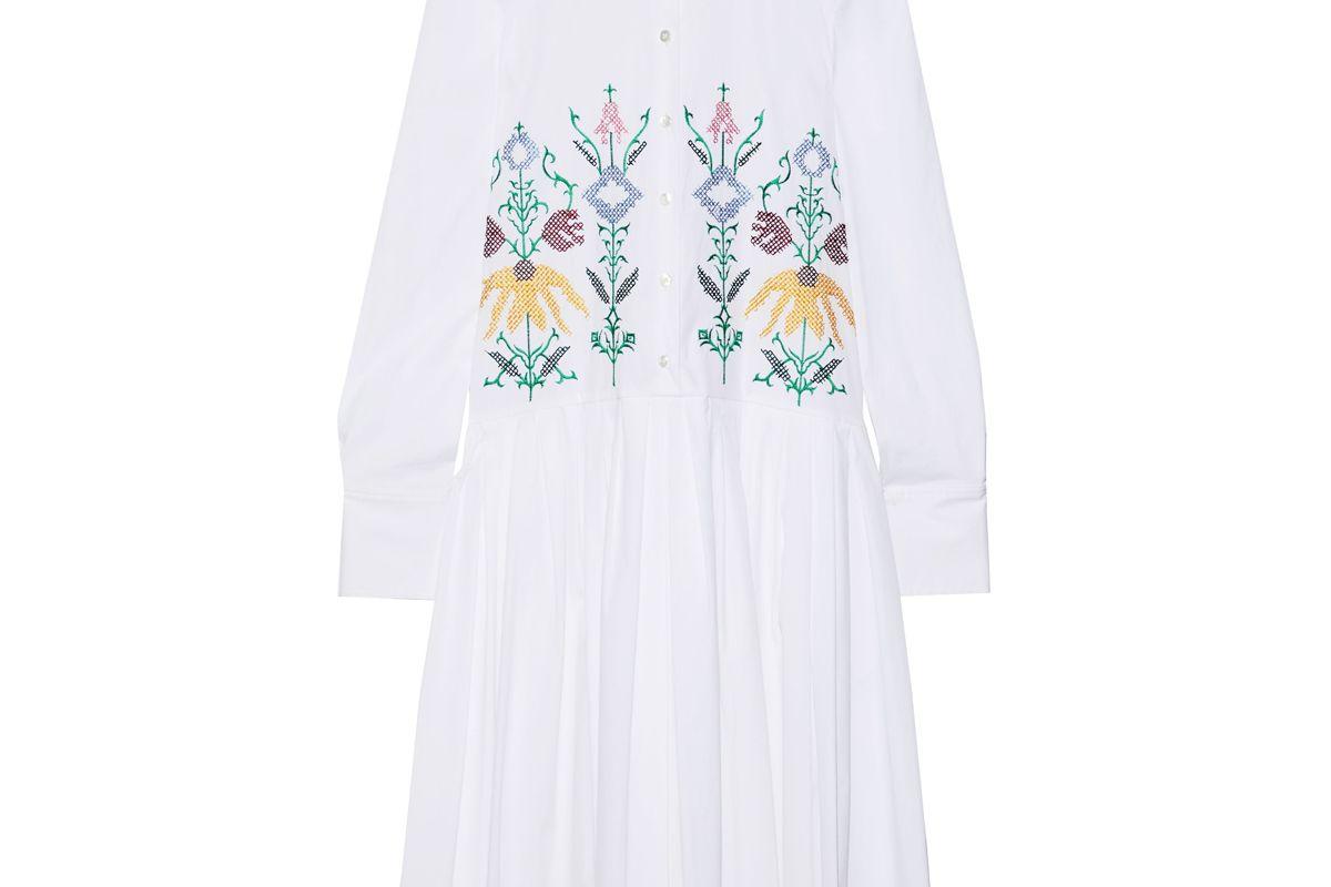 carolina herrera embroidered cotton blend poplin midi shirt dress