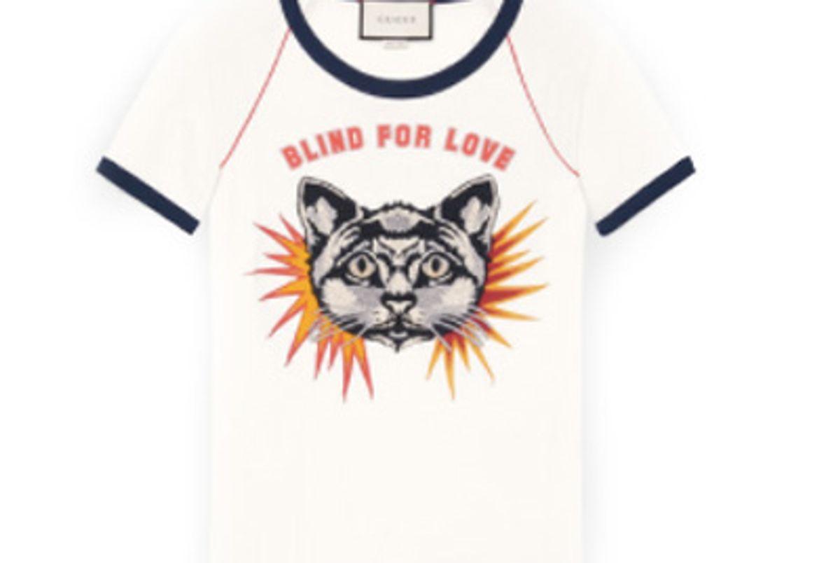 T-shirt with Cat Appliqué