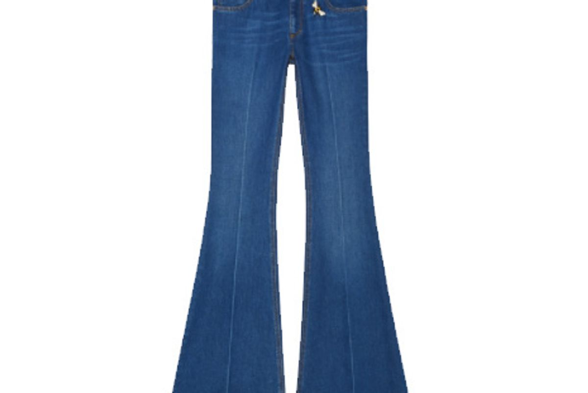 Embroidered Denim Flare Pant