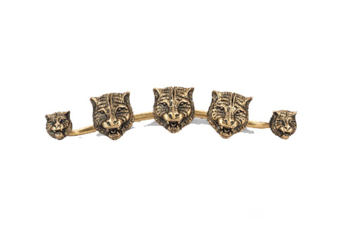 Multi-Finger Ring with Feline Heads