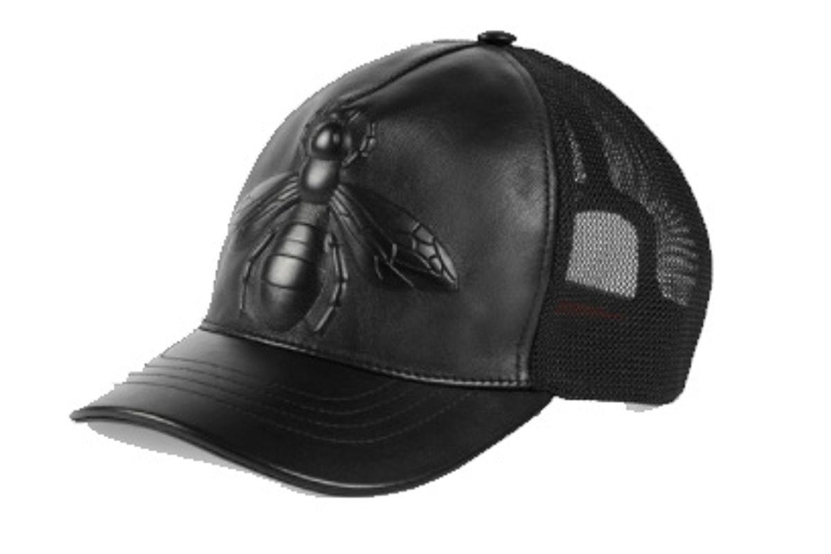Bee Embossed Leather Baseball Hat