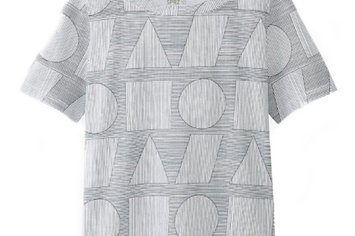 Women SPRZ NY Super Geometric Graphic T-Shirt (Sol Lewitt) in Gray