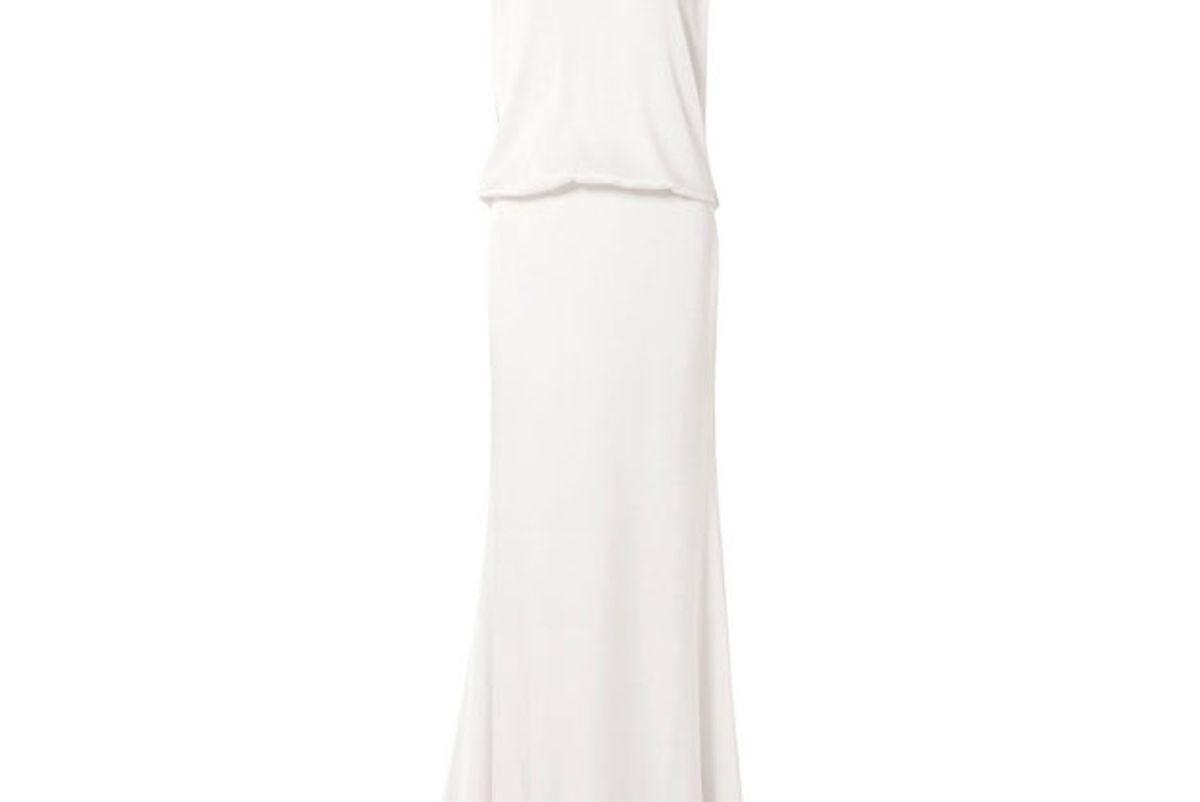 rachel zoe ava lace trimmed satin crepe gown