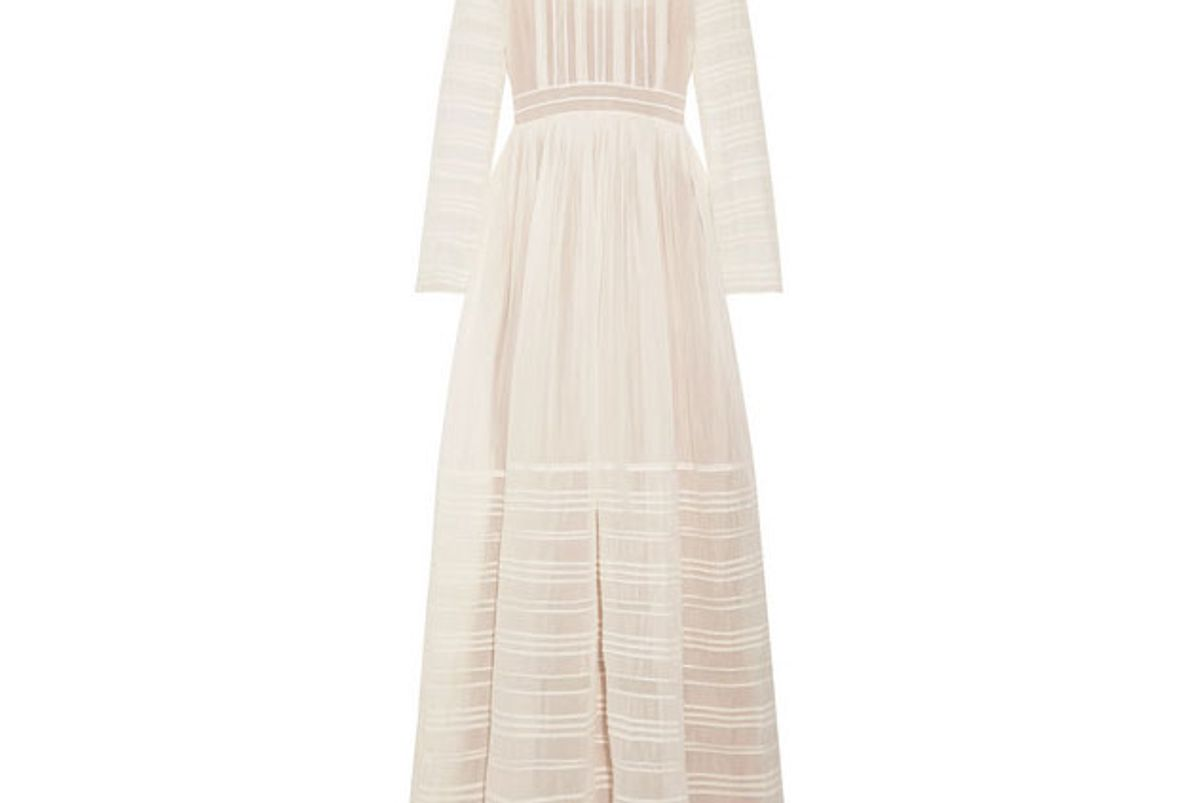 valentino tulle trimmed pintucked cotton and silk blend voile gown