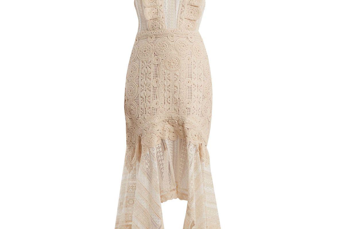 jonathan simkhai handkerchief hem cotton macrame lace dress