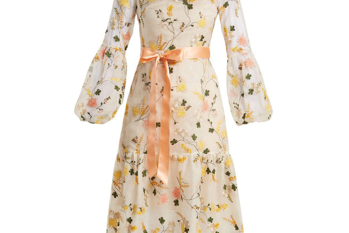erdem sandra floral print organza gown