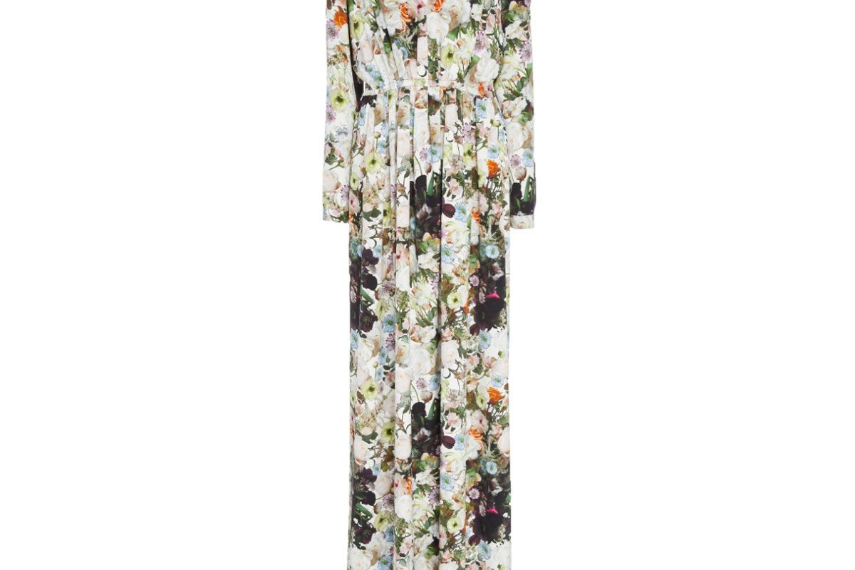 adam lippes printed silk crepe v neck gown