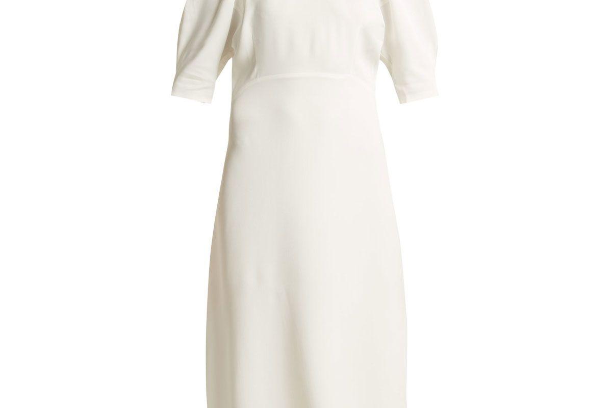 khaire cynthia puffed sleeve midi dress