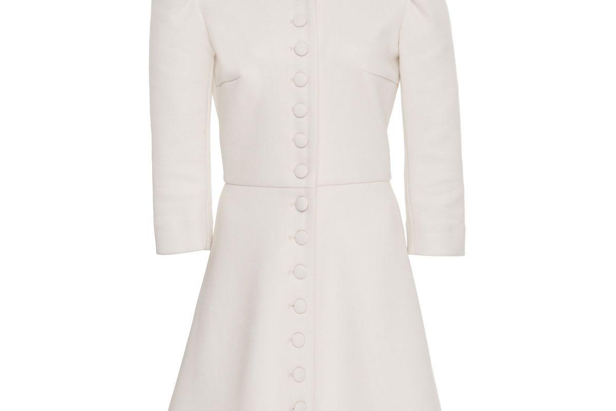 lein wool button front mini dress