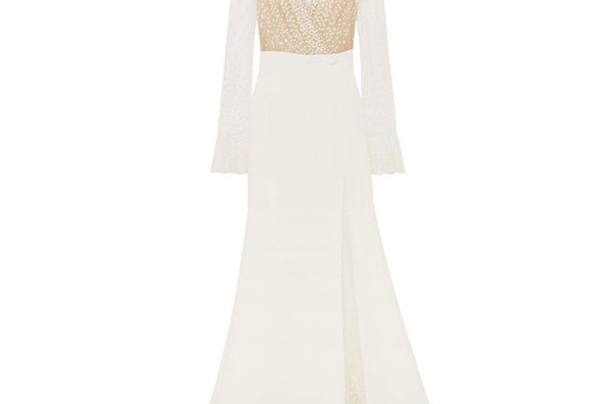 rime arodaky joni swiss dot tulle and crepe gown