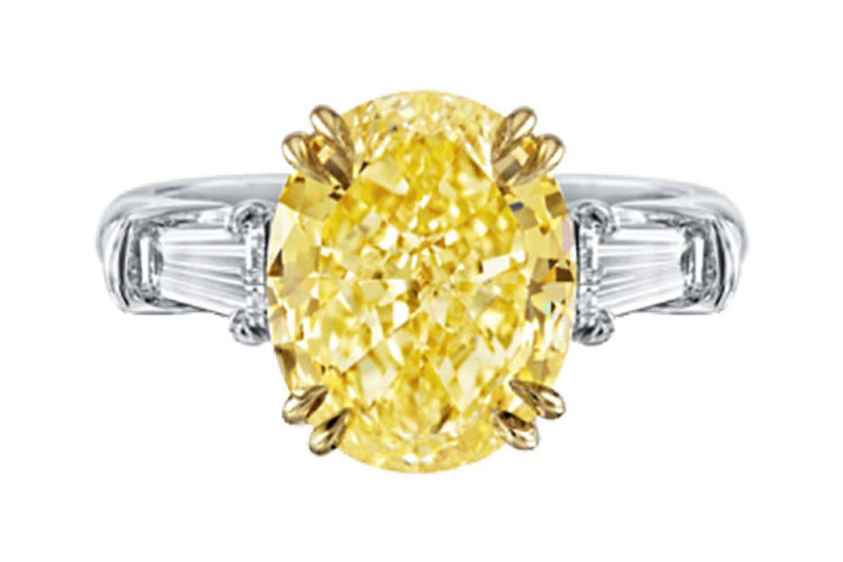 Classic Winston, Oval-Shaped Yellow Diamond Ring